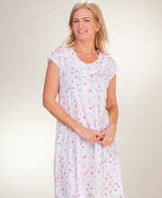 La Cera Cotton-Rich Mid-Length Cap Sleeve Nightgown - Cherry Jubilee