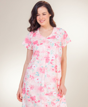 Robes by Miss Elaine - Long Zip Front Terry Robe in Pink Gardens