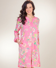 Plus Knit Robes - Miss Elaine Short Zip Front Long Sleeve Robe in Blushing Bouquet
