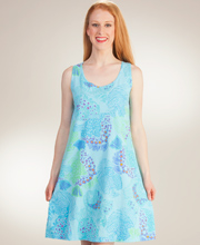 I Can Too Sleeveless Cotton A-Line Beach Cover Up - Fish Tales in Blue