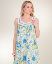 La Cera Sleeveless Cotton Ballet Nightgown - Tranquility Blossoms