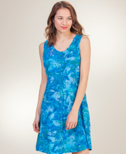Eagle Ray Traders Short Button Front Tie-Back Dress in Ocean Waters
