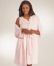 Cotton-Rich Peignoir Set - Aria Wrap Robe/Sleeveless Gown - Coral Paisley