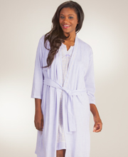 Aria Cotton-Rich Sleeveless Short Gown/Wrap Robe Set - Lavender Daisy