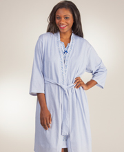 Peignoir Sets - Aria Cotton-Rich Gown and Wrap Robe Set - Navy Daisy