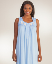 Sleeveless Cotton Modal Eileen West Long Nightgown in Bluette