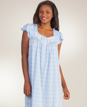 Eileen West Cotton Modal Cap Sleeve Mid-Length Nightgown - Heart Strings