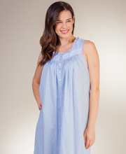 Eileen West Cotton Lawn Sleeveless Long Gown in Sky Concerto