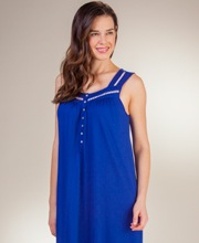 Micro Modal Eileen West Sleeveless Long Nightgown in Royal Navy