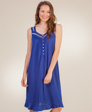 Eileen West MicroModal Sleeveless Short Knit Nightgown in Royal Navy