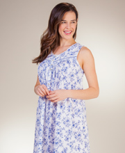 Aria Sleeveless Cotton Knit Ballet Nightgown in Floral Sketch