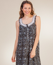 Sleeveless Aria Long Rayon Knit Blend Nightgown in Midnight Ditsy