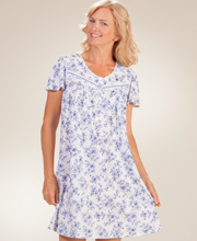 Aria Cap Sleeve Cotton Knit Short Nightgown in Floral Sketch