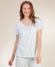 Carole Hochman 100% Cotton Short Sleeve Pajama Set in Aqua Shower