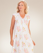 Plus Carole Hochman Long Cap Sleeve Cotton V-Neck Nightgown in Pinky Blooms