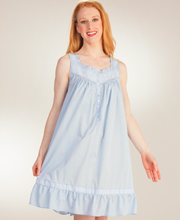 Eileen West Cotton Lawn Sleeveless Waltz Nightgown in Sky Concerto