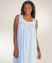 Long Eileen West Sleeveless Cotton Modal Nightgown in Heart Strings