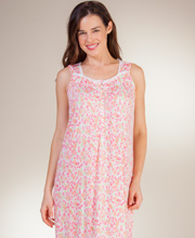 Eileen West Modal Nightgown - Sleeveless Knit Ballet in Citrus Mingle