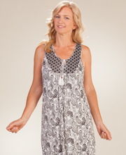 Rayon Nightgowns - Ellen Tracy Sleeveless Mid Gown in Raven Paisley