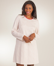 Calida Long Sleeve Cotton Knit Nightshirt in Cranberry Florets