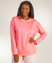 Calida Cotton PJs - Long Sleeve 100% Cotton Knit Pajamas - Coral Plaid