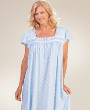 Plus Eileen West Long Cotton Knit Cap Sleeve Nightgown in Palisades