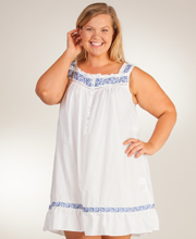 Plus Eileen West Sleeveless Waltz Cotton Lawn Nightgown in White Concerto