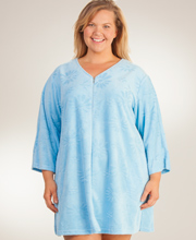 Miss Elaine Plus Long Sleeve Zip Short Mock Terry Robe in Daisy Blue
