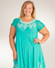 Women's Cotton Sundress - Cap Sleeve One Size Beach Coverup in Magical Seafoam