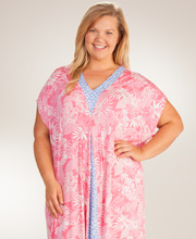 Ellen Tracy Plus Caftans - Short Sleeve Rayon Long Caftan In Tranquil Palms
