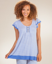 Ellen Tracy Pajamas - Short Sleeve Silky Rayon Capri PJs in Tranquil Stripe