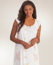 Cotton Carole Hochman Nightgowns - Scoop Neck Long Knit in Lacy Peonies