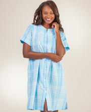 Short Seersucker Robe - Miss Elaine Snap Front Robe In Blue Plaid
