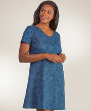 Cotton Beach Dress - I Can Too V-Neck Short Sleeve in Sea Pearls Navy