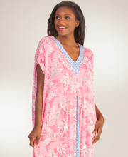 Ellen Tracy Caftans - Short Sleeve Rayon Long Caftan In Tranquil Palms