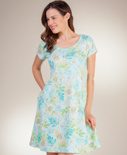 Relax by Miss Elaine Short Sleeve Waltz Length Dress in Lotus Lake