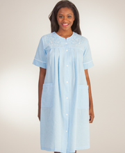 Short Seersucker Robe - Miss Elaine Snap Front Robe In Blue Stripe
