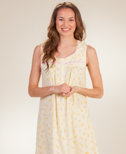 Sleeveless Nightgown - Aria 100% Cotton Knit Long Gown - Sunny Meadow