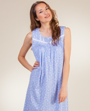 Long Aria Nightgowns - Cotton Sleeveless Knit in Peri Sprigs