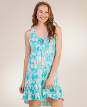 Plus Sleeveless Nightgowns - Ellen Tracy Short Poly Nightgown in Hawaiian Ferns