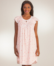 Smocked Miss Elaine Short Silkyknit Nightgown in Precious Pink