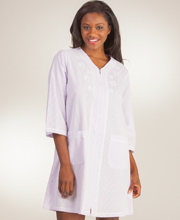 Miss Elaine Bathrobes - Zip Front Short Embroidered Robe in Lilac Stripe
