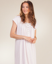 Cotton Eileen West Mid Nightgown - Cap Sleeve Knit - Blushing Vine