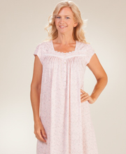 Eileen West Cotton Knit Short Sleeve Ballet Nightgown - Floral Whisper