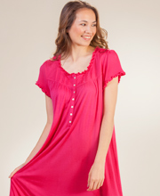 Nightgown by Eileen West - Cap Sleeve Modal Mid Gown - Fabulous Fuchsia