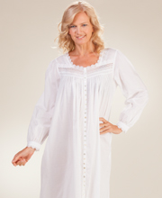 Eileen West White Robe - Long Cotton Button-Front Gown in Estival