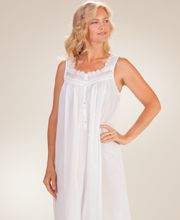 Cotton Nightgowns - Long Eileen West Sleeveless White Gown - Valdez