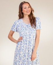 Aria Ballet Nightgowns - Poly-Rayon Short Sleeve Gown in Wind Song