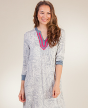 Long Sleepshirts - Ellen Tracy 3/4 Sleeve Rayon Gown in Gray Paisley