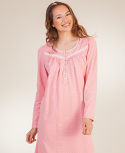 Aria Nightgowns - 100% Cotton Knit Long Sleeve Gown in Coral Dot